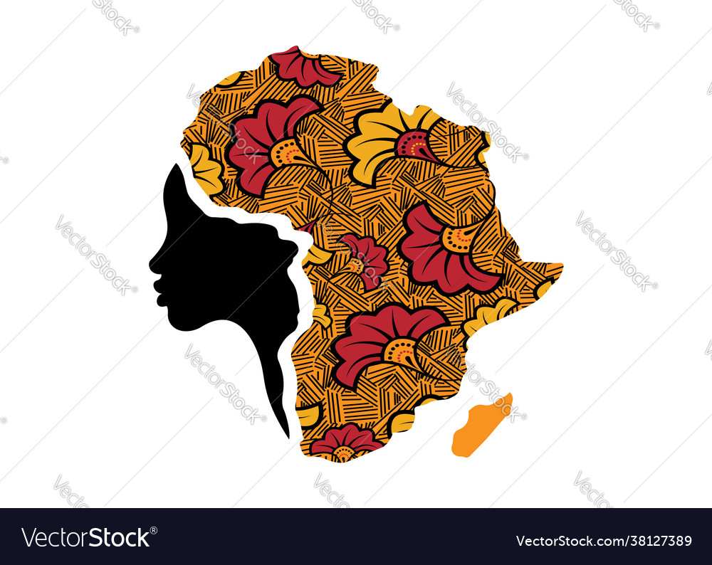 Concept african woman face profile silhouette