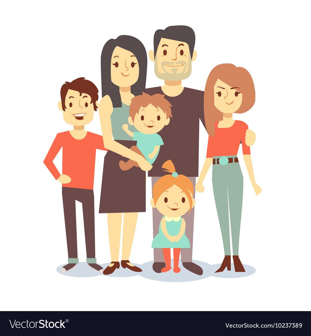 Cute cartoon family characters in casual