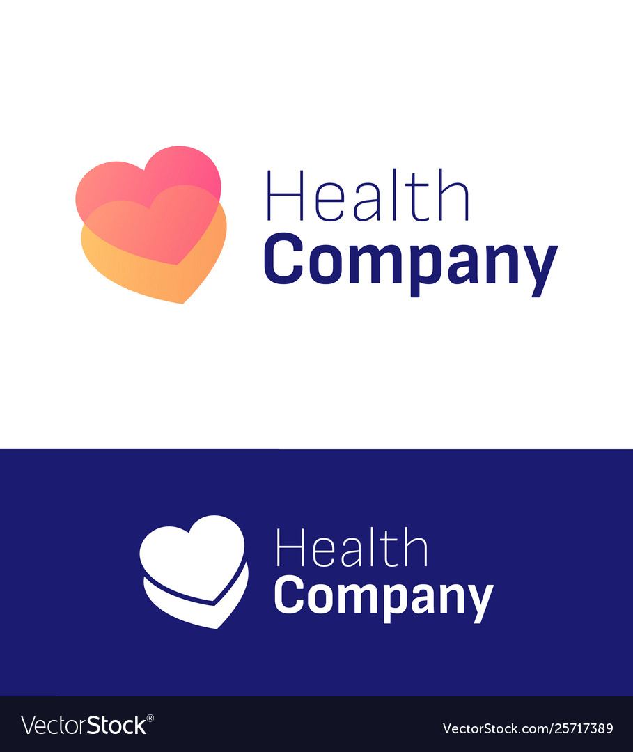 Health two hearts symbol for logo company element