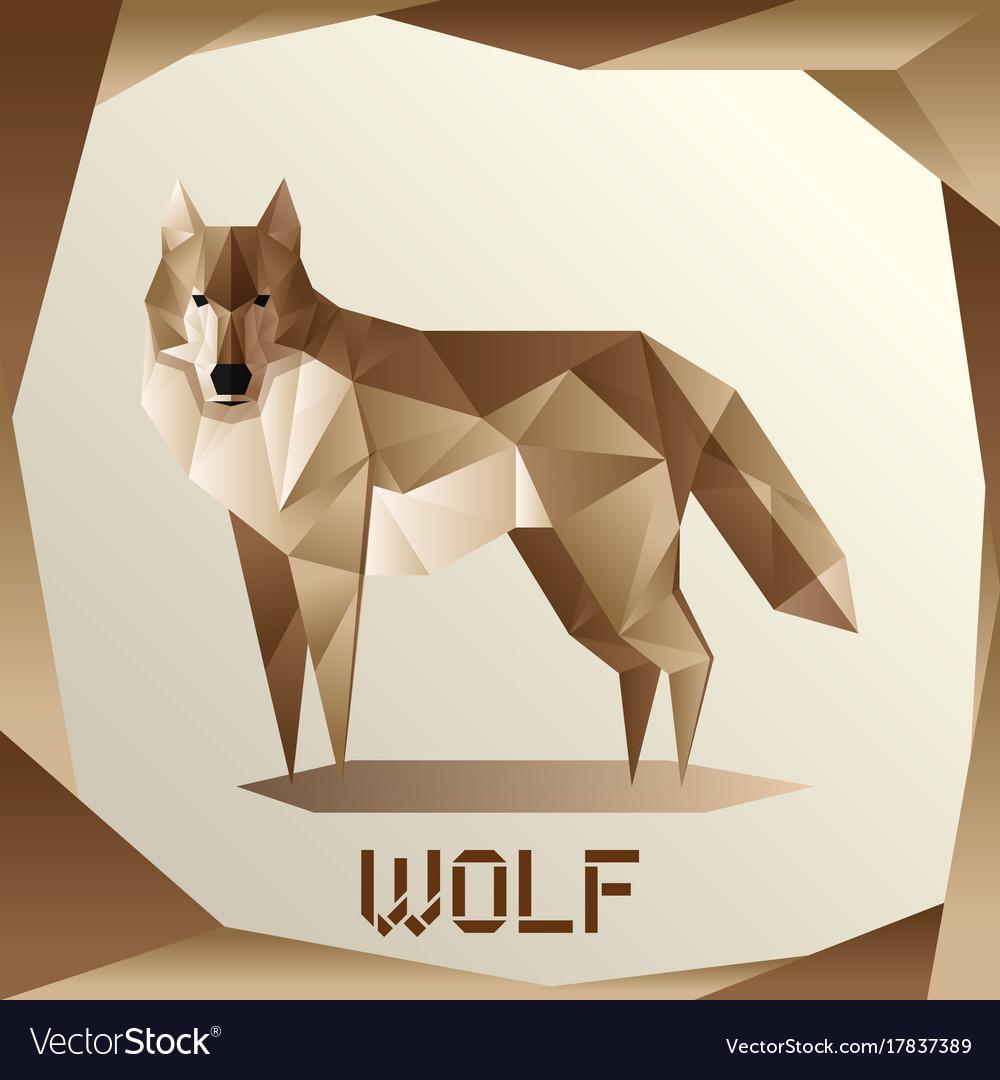 Origami grey wolf