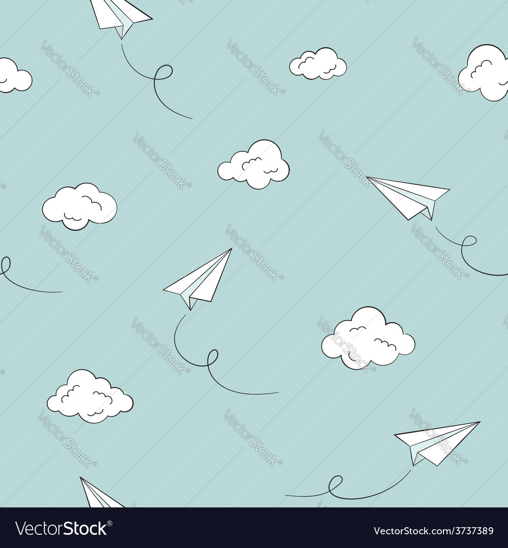 Paper plane seamless background vector image