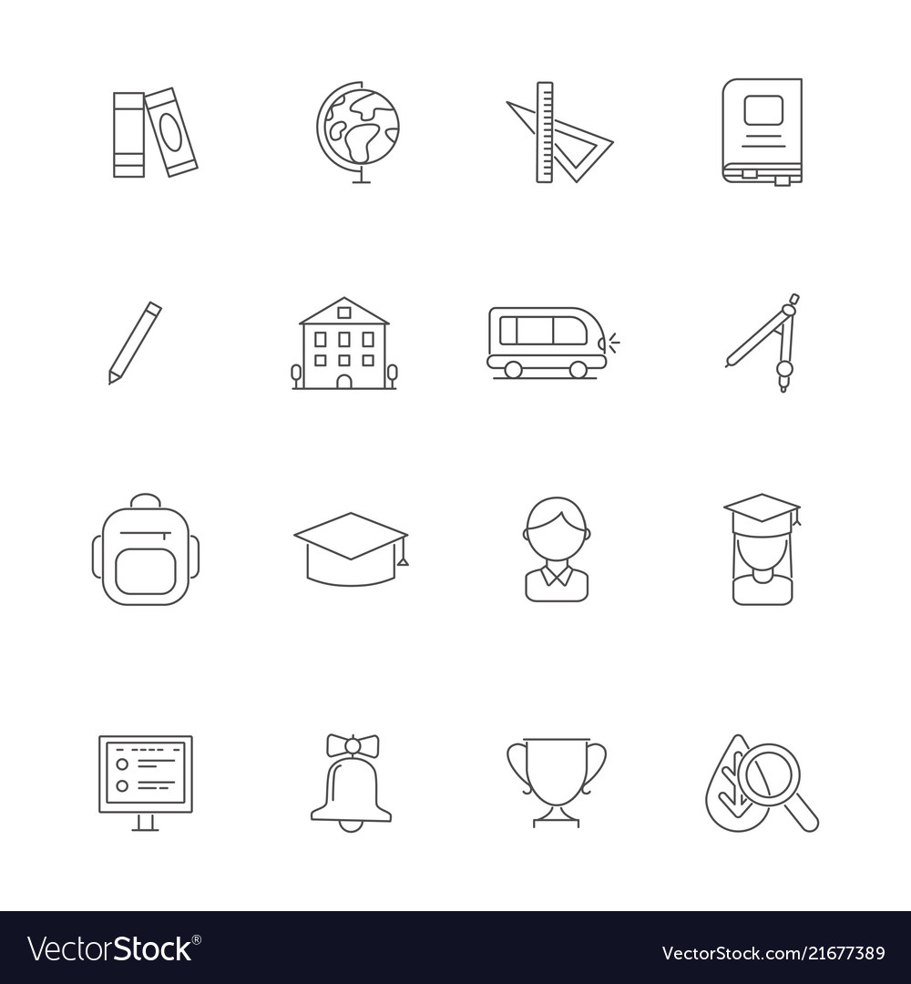 School line icons science linear various symbols