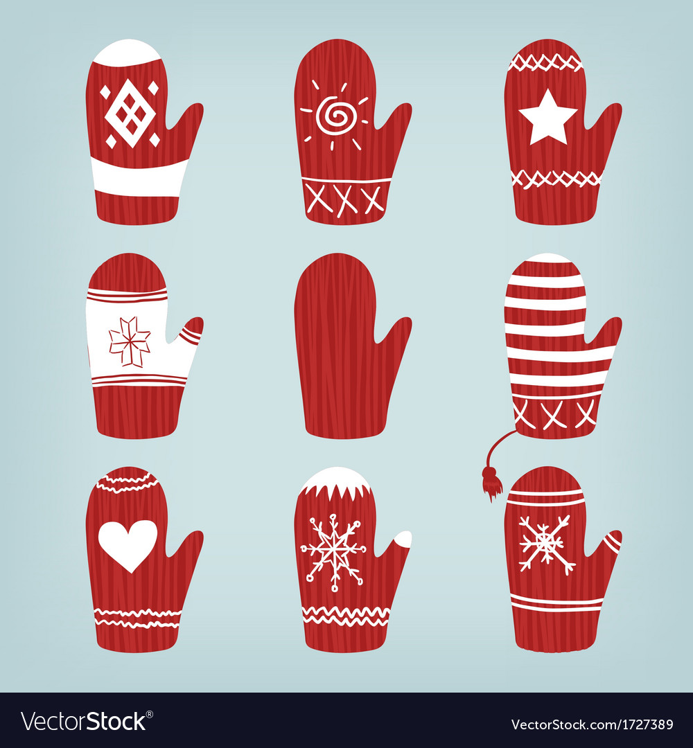 set of christmas mittens vector image - Christmas Mittens