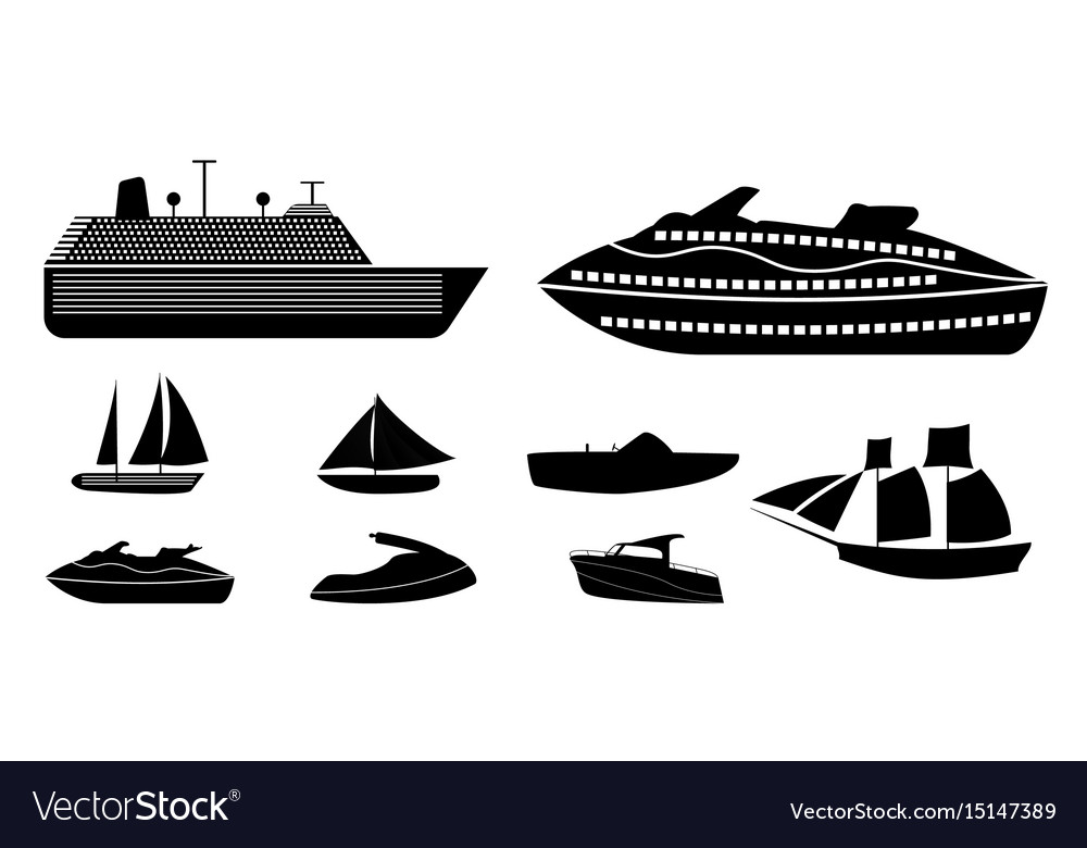 Set of different types of boats for recreation and