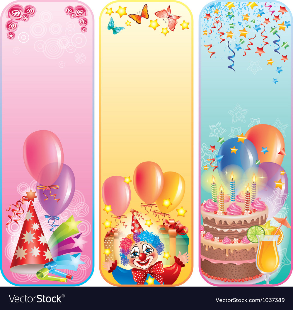 Vertical birthday banners vector image