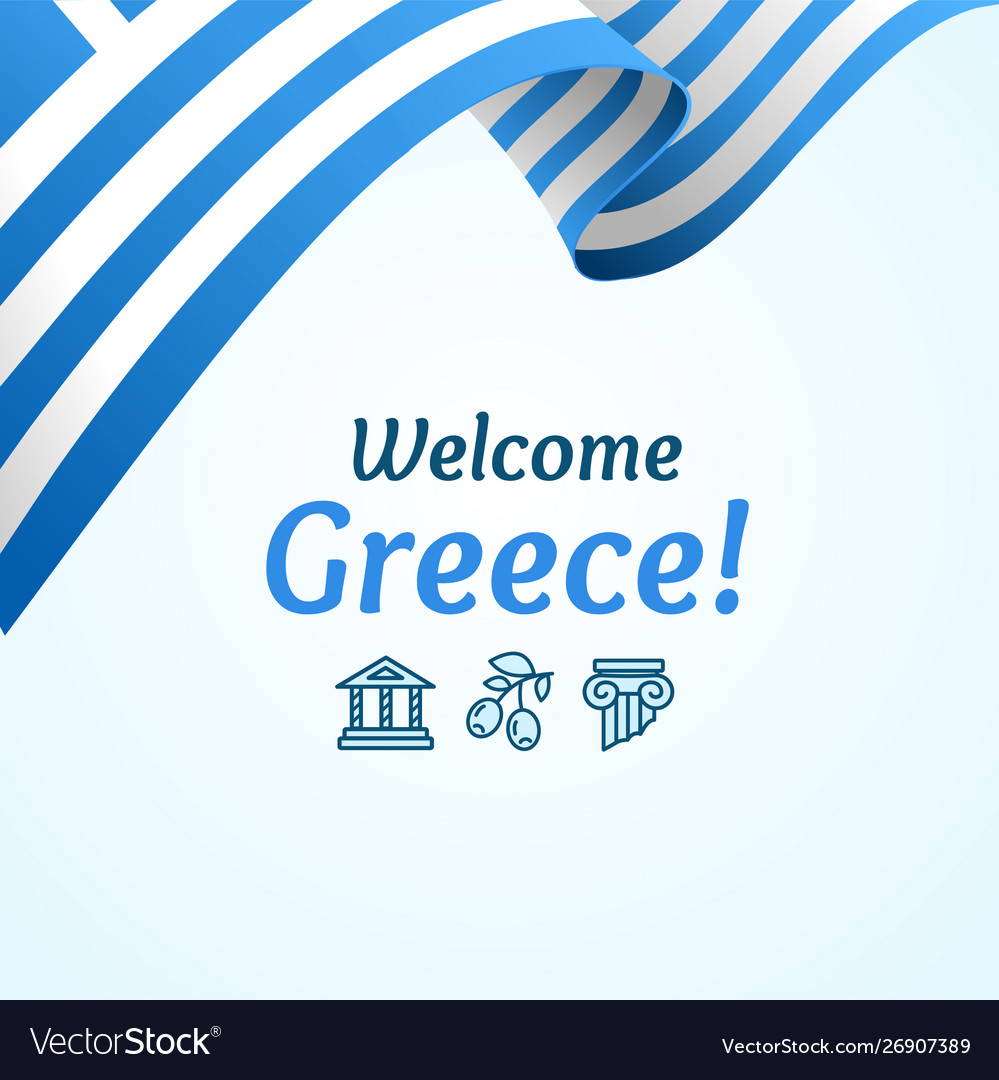 Welcome greece concept banner card with realistic