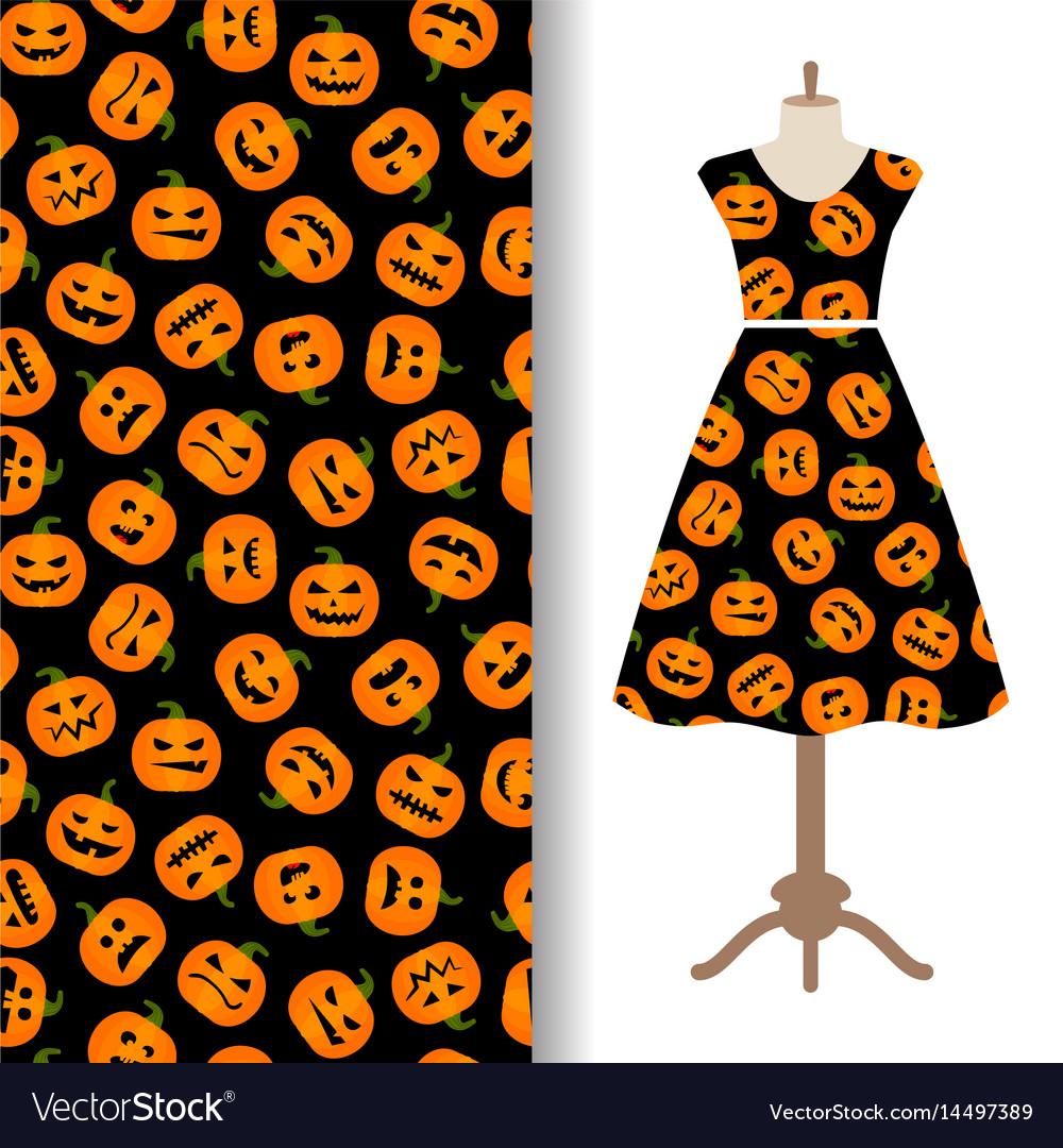 Womens dress fabric pattern with pumpkin