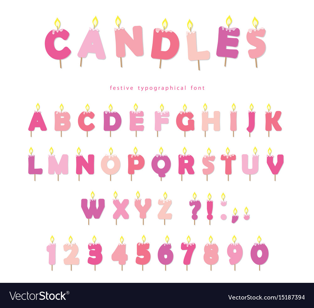 Birthday Candles Font Design Abc Letters And Vector Image