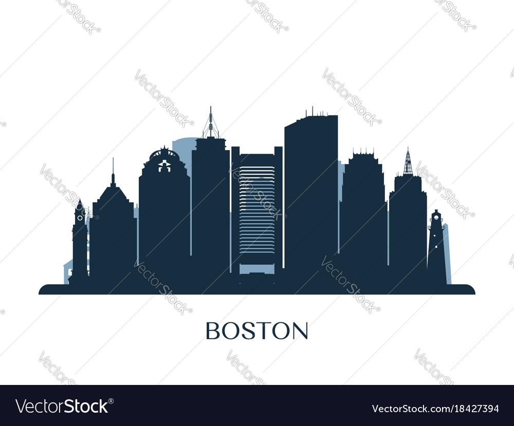 boston skyline monochrome silhouette royalty free vector rh vectorstock com New York Skyline Vector Boston Skyline Clip Art
