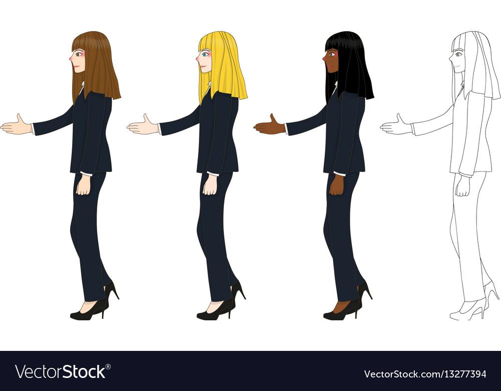 Business woman long hair hand shake