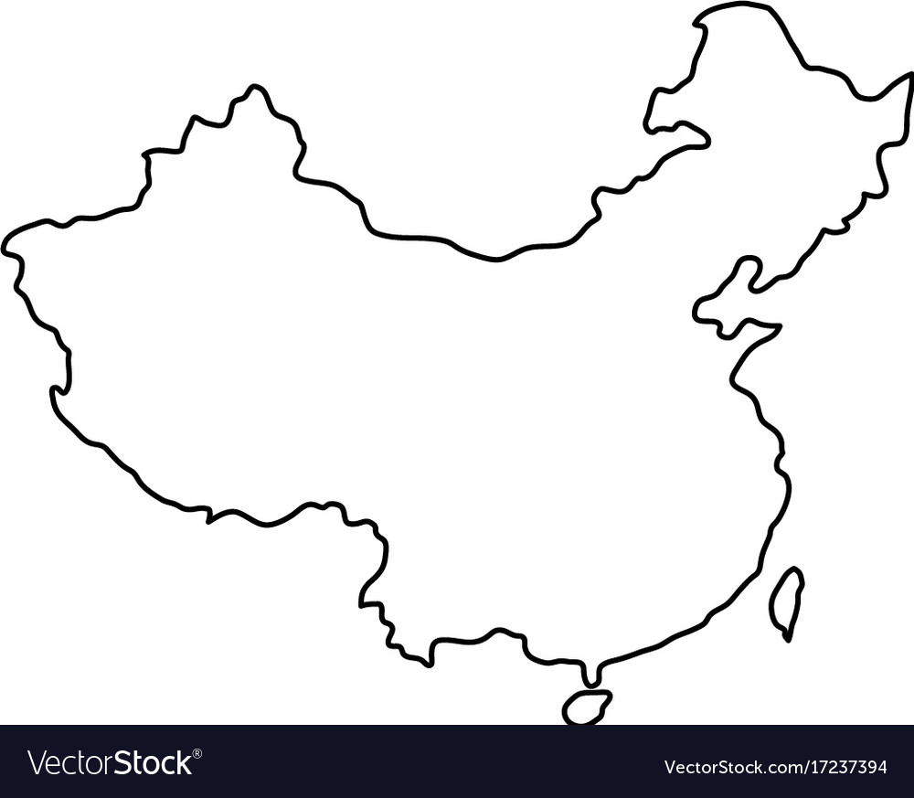 China map of black contour curves of Royalty Free Vector