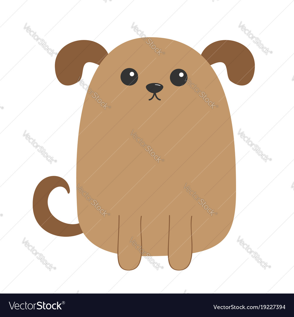 Dog Puppy Cute Cartoon Character Funny Face Head Vector Image