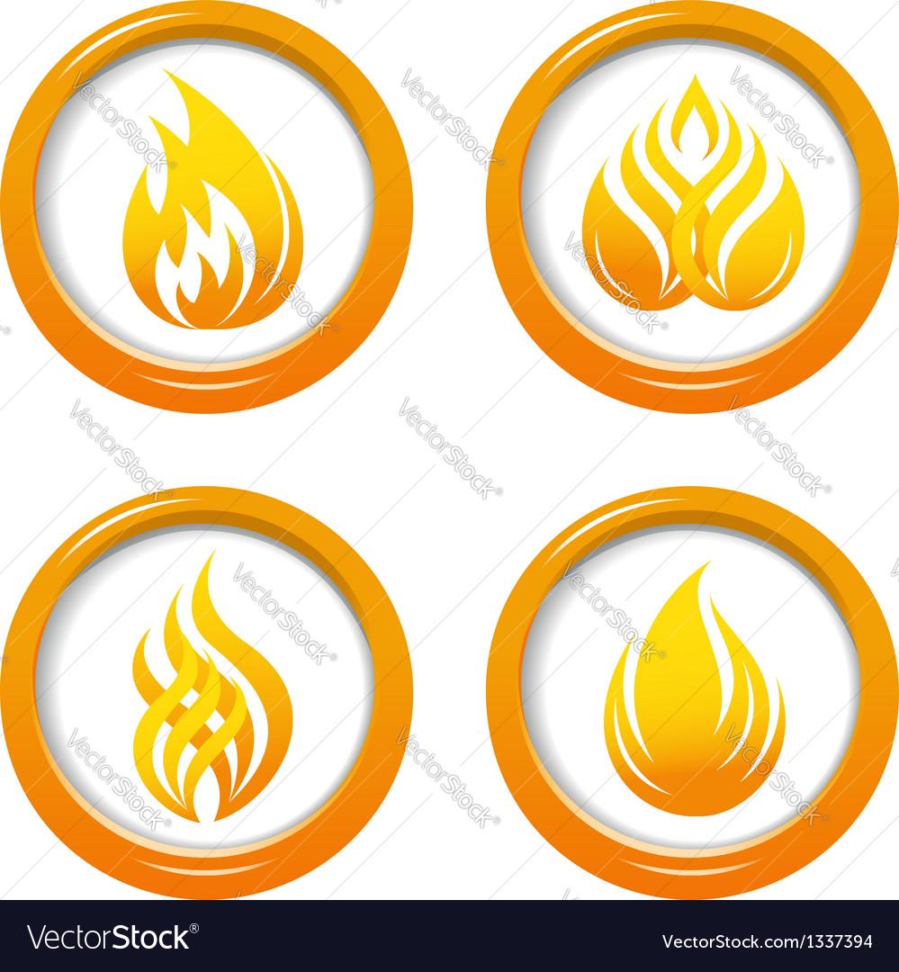 Fire web buttons set vector image