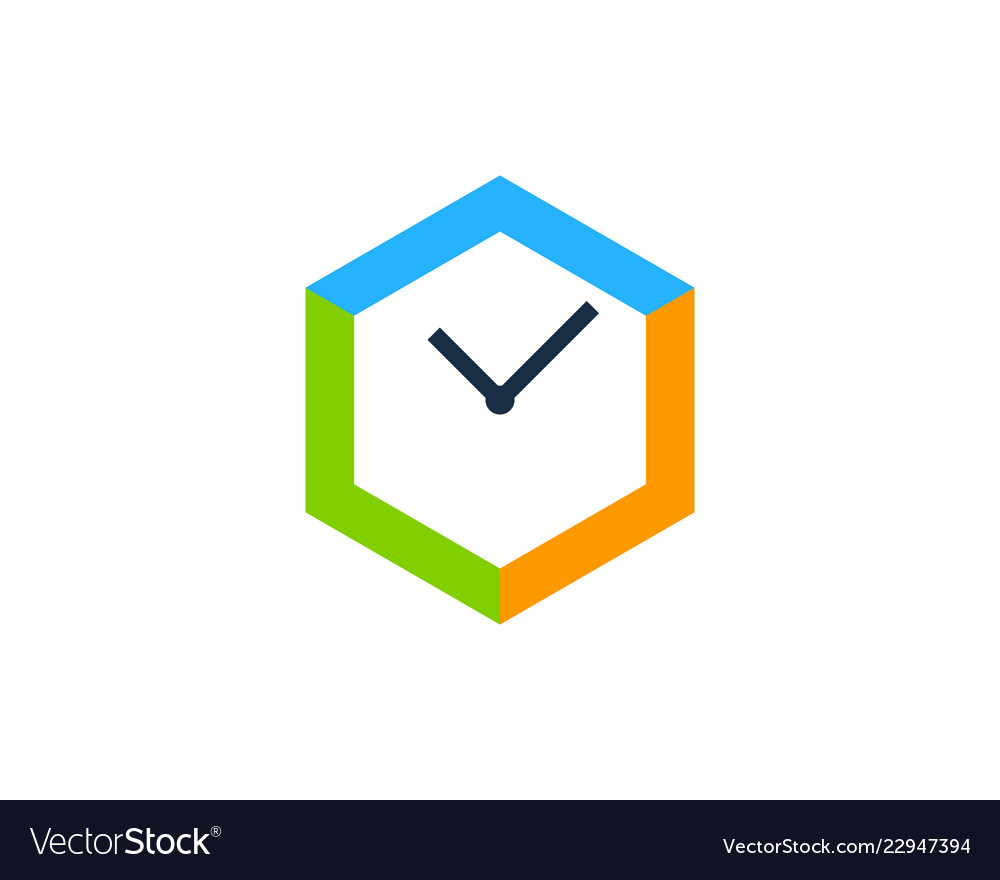 Hexagon time logo icon design