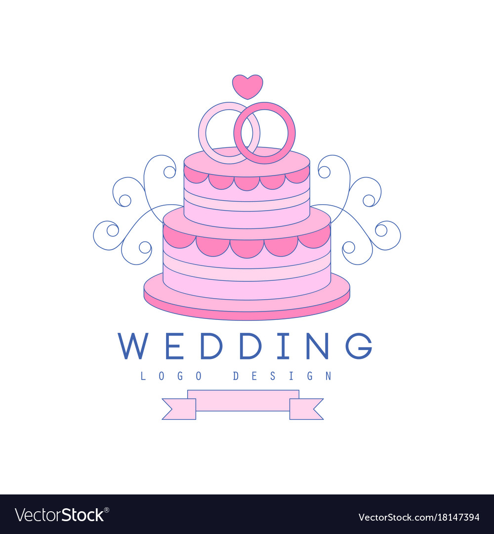 Line logo design with wedding cake and rings on Vector Image