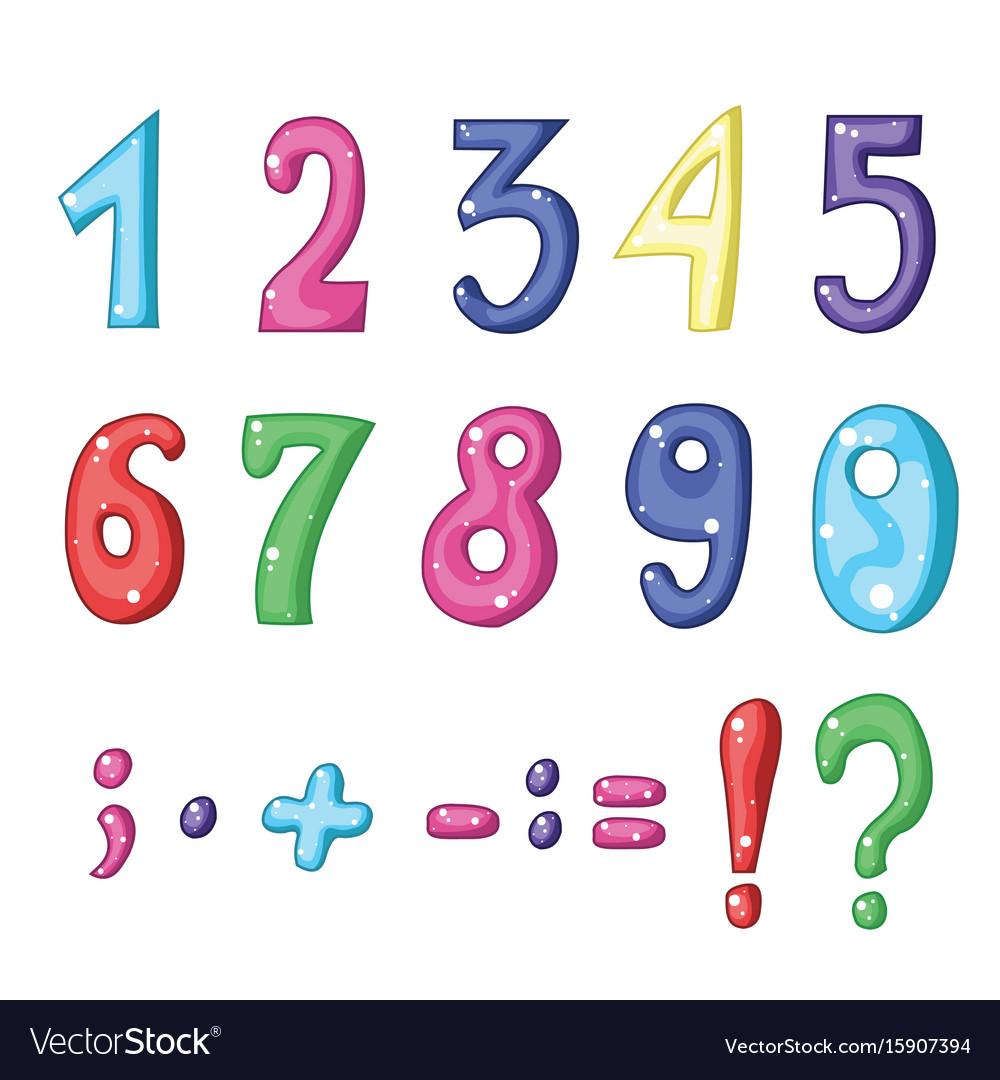 Set Of Cartoon Mathematical Symbols Royalty Free Vector