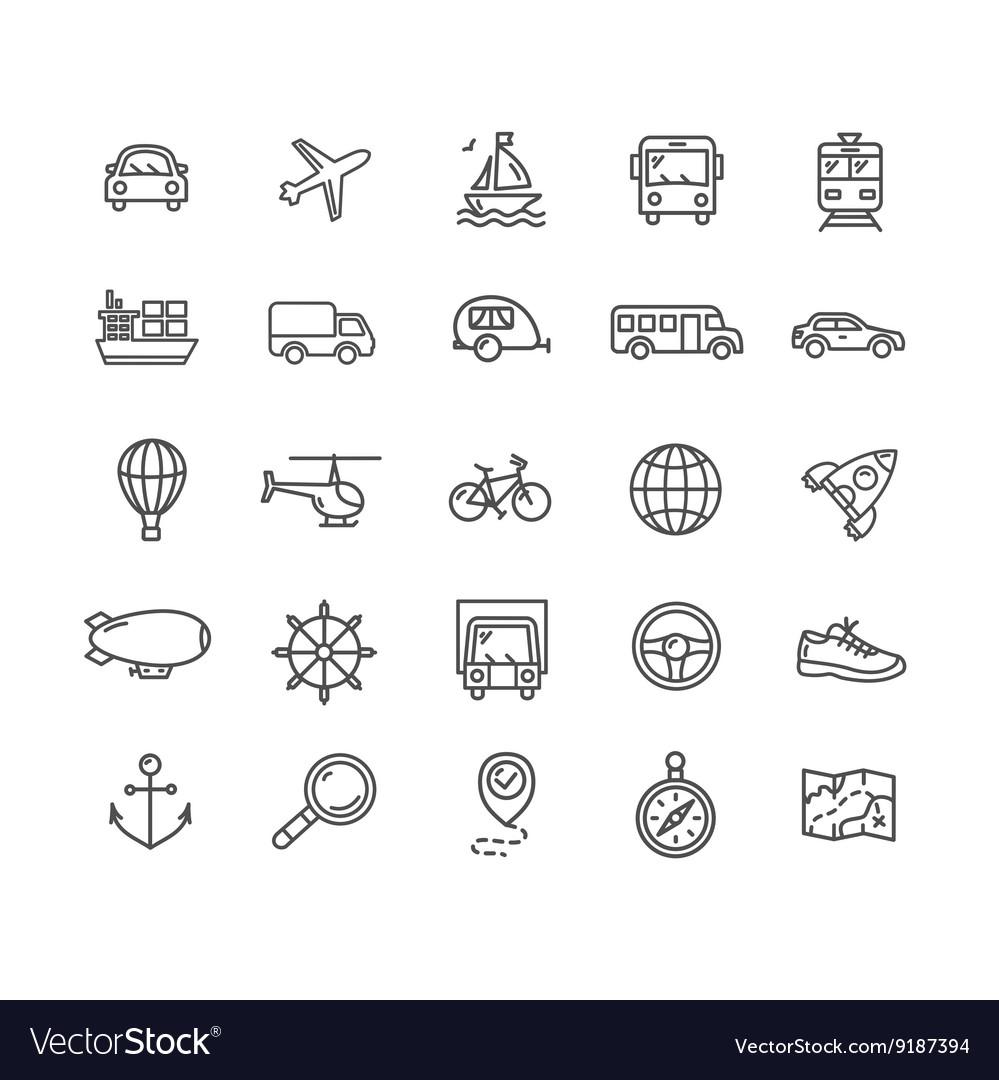 Transportation Outline Icon Set