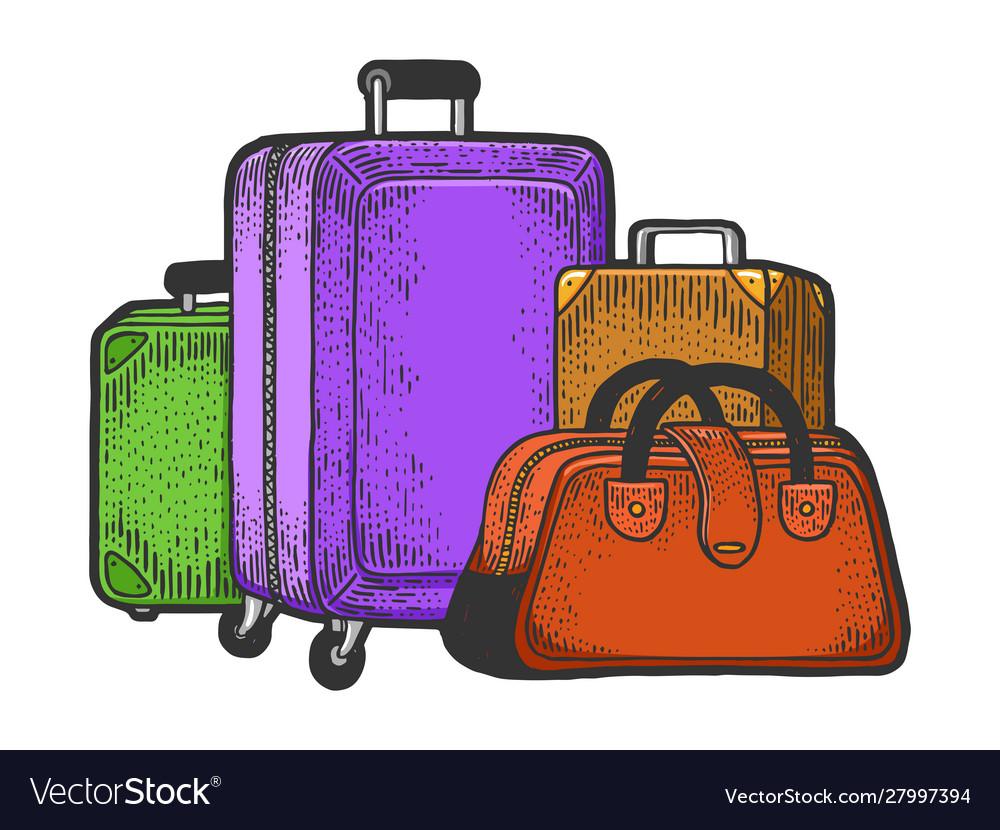 Travel bags suitcase sketch engraving