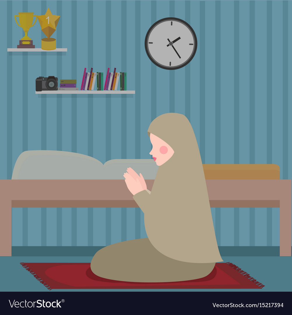 Woman islam pray in tahajud shalat at night in her vector image