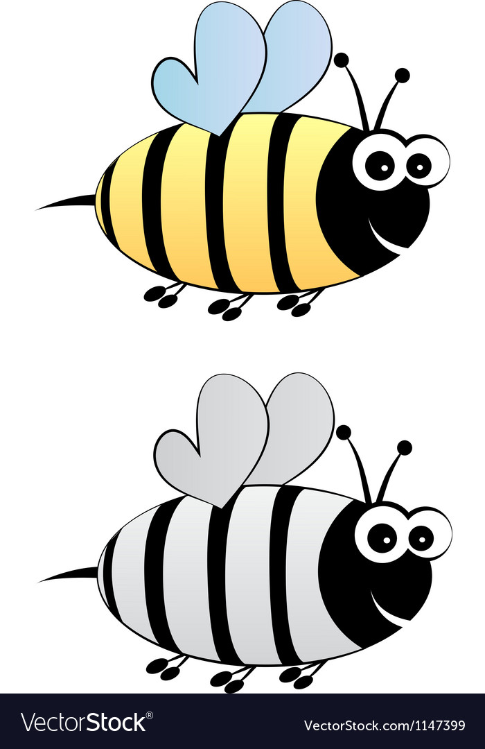 Bee cartoon in color and black-white