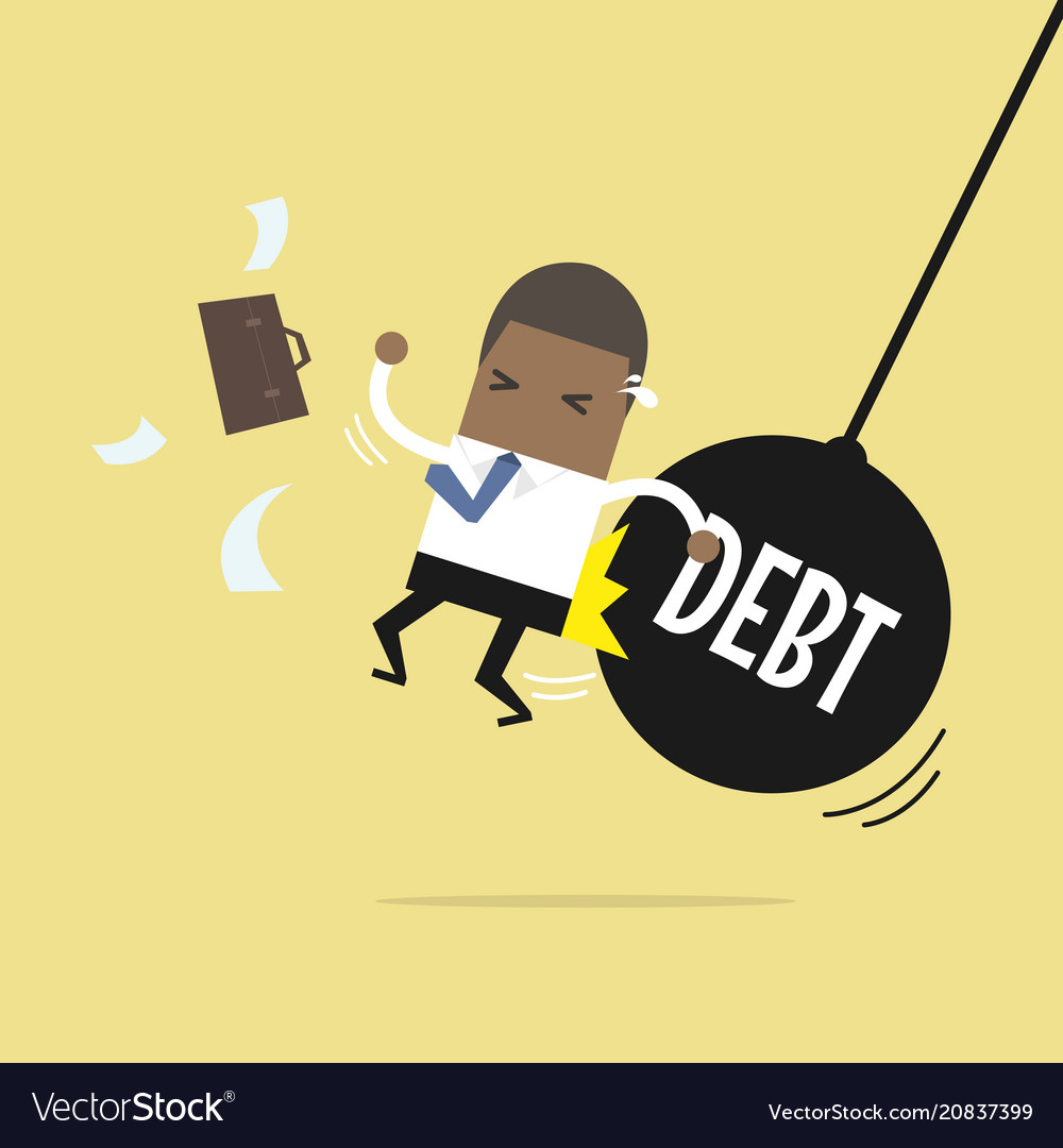 Businessman getting pushed by huge debt pendulum