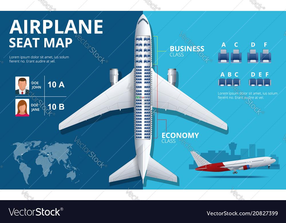 Chart airplane seat plan of aircraft passenger vector image
