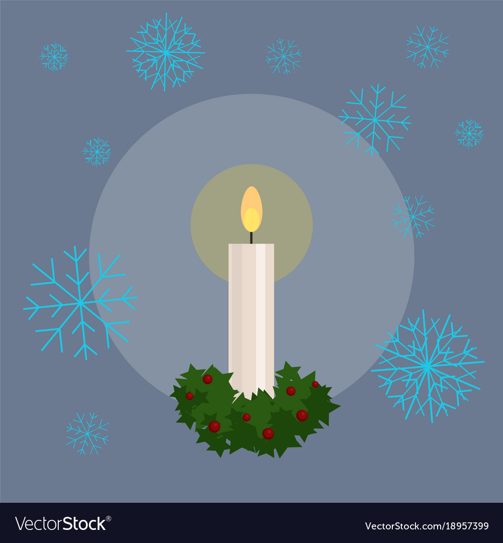 Christmas candle flat vector image
