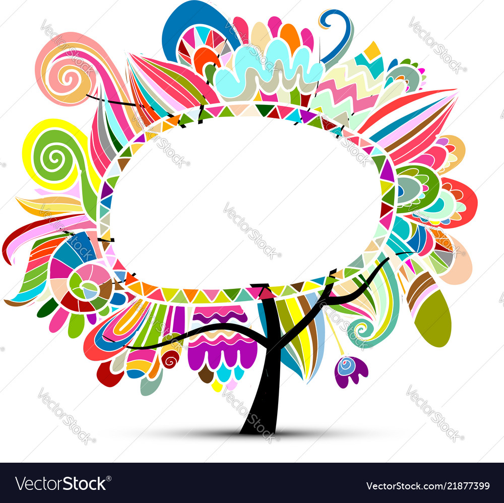 Floral magic tree sketch for your design