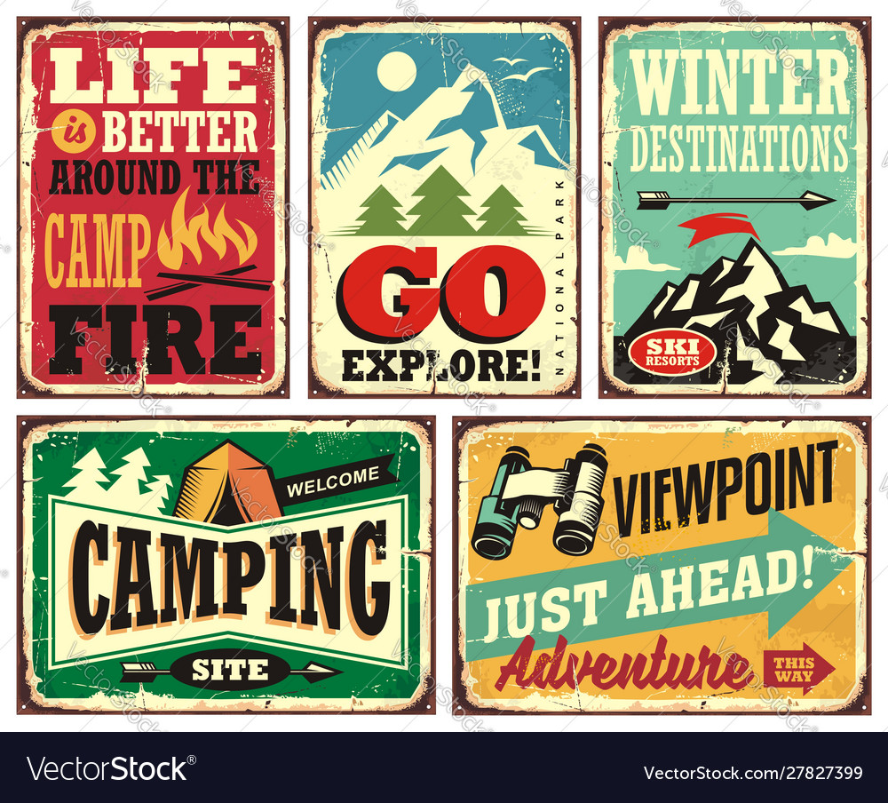 Hiking and camping retro signs collection