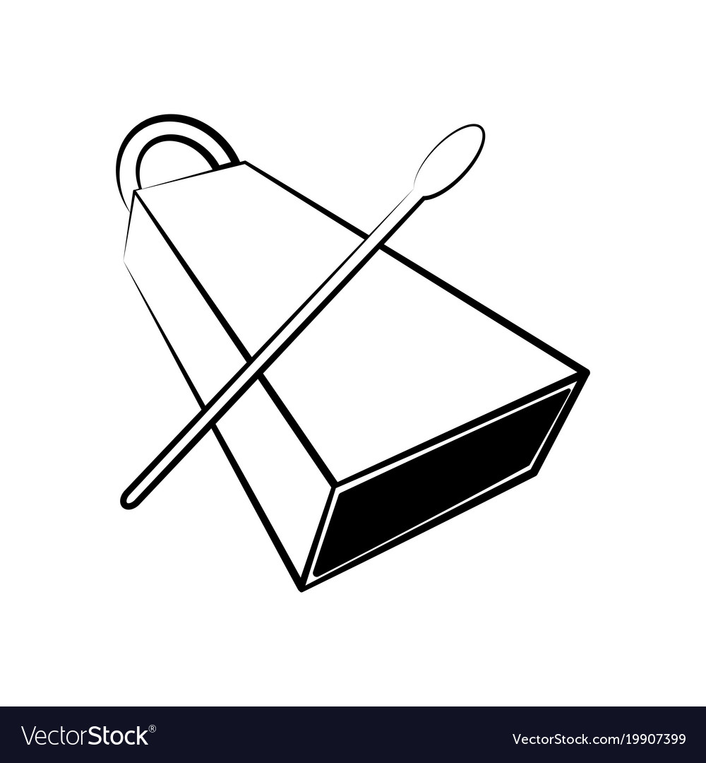 Isolated Cowbell Outline Musical Instrument Vector Image