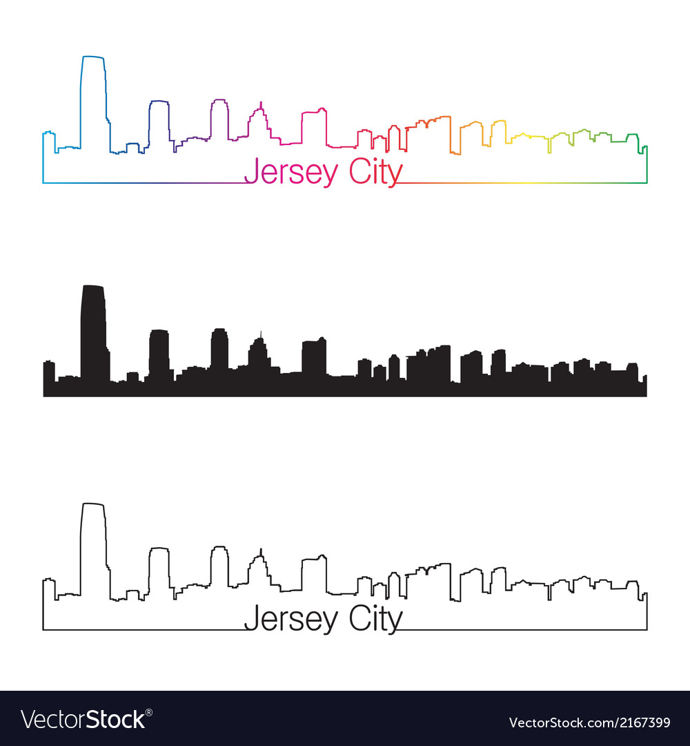 Jersey City skyline linear style with rainbow
