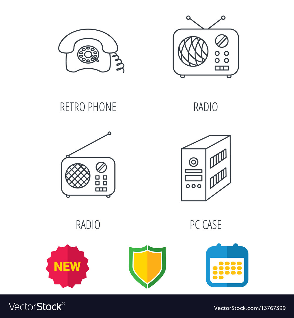 Radio retro phone and pc case icons