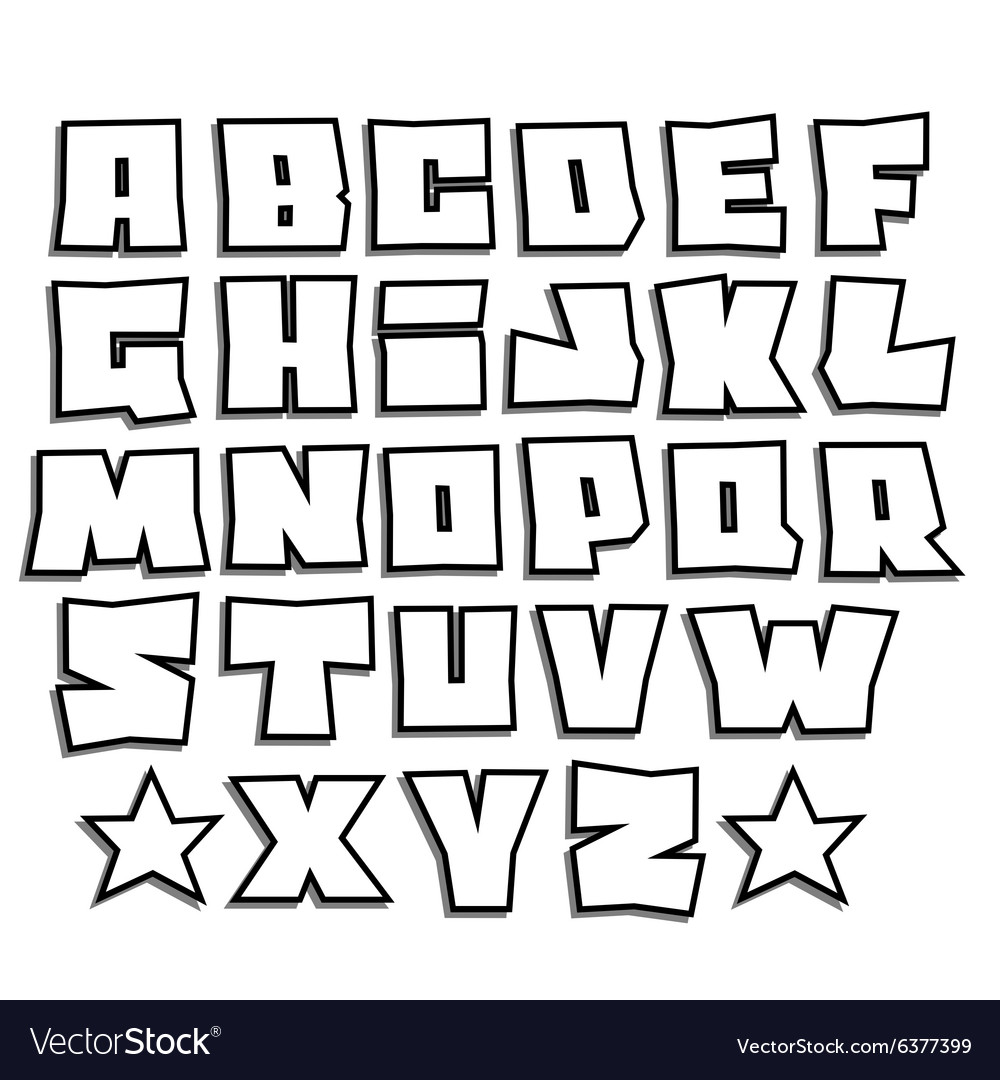 Readable graffiti fonts alphabet with shadow