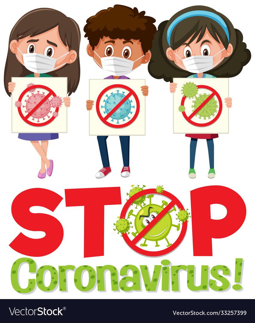 Stop coronavirus logo with three teenagers
