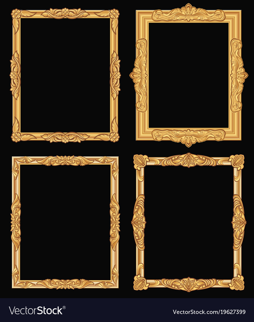 Vintage gold ornate square frames isolated retro Vector Image