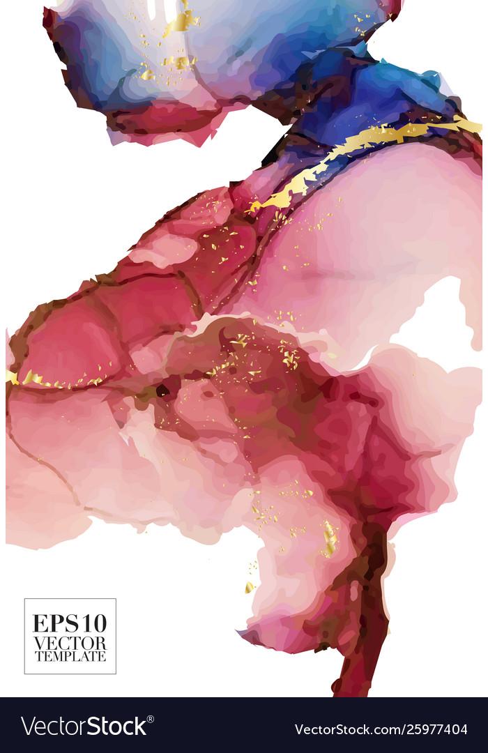 Alcohol ink art fluis splash in red blue colors
