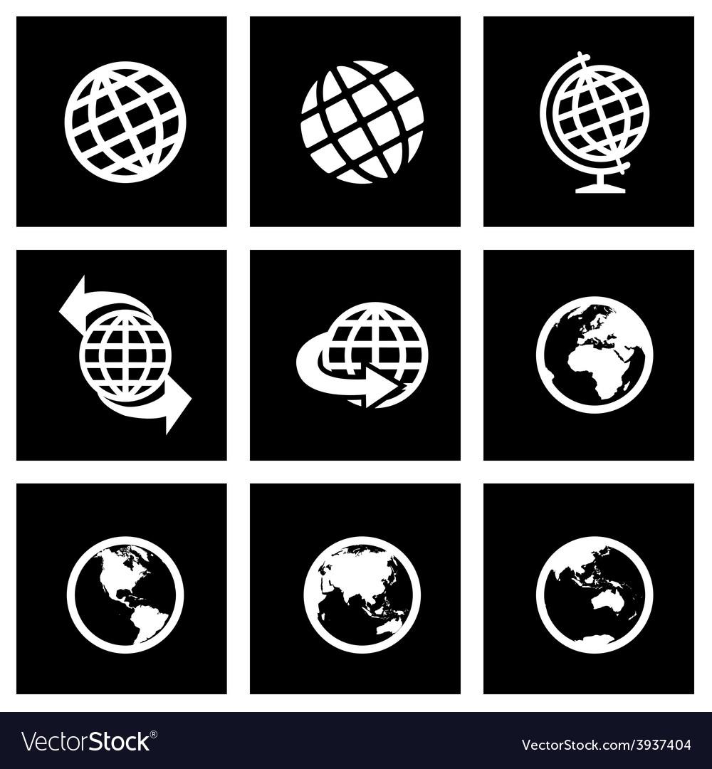 Black globe icon set vector image