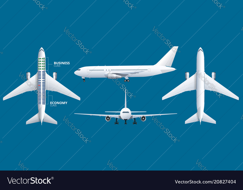 Chart airplane seat plan of aircraft passenger