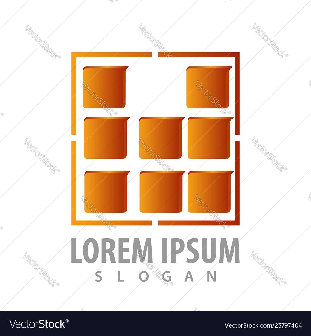 Digital square brown logo concept design symbol