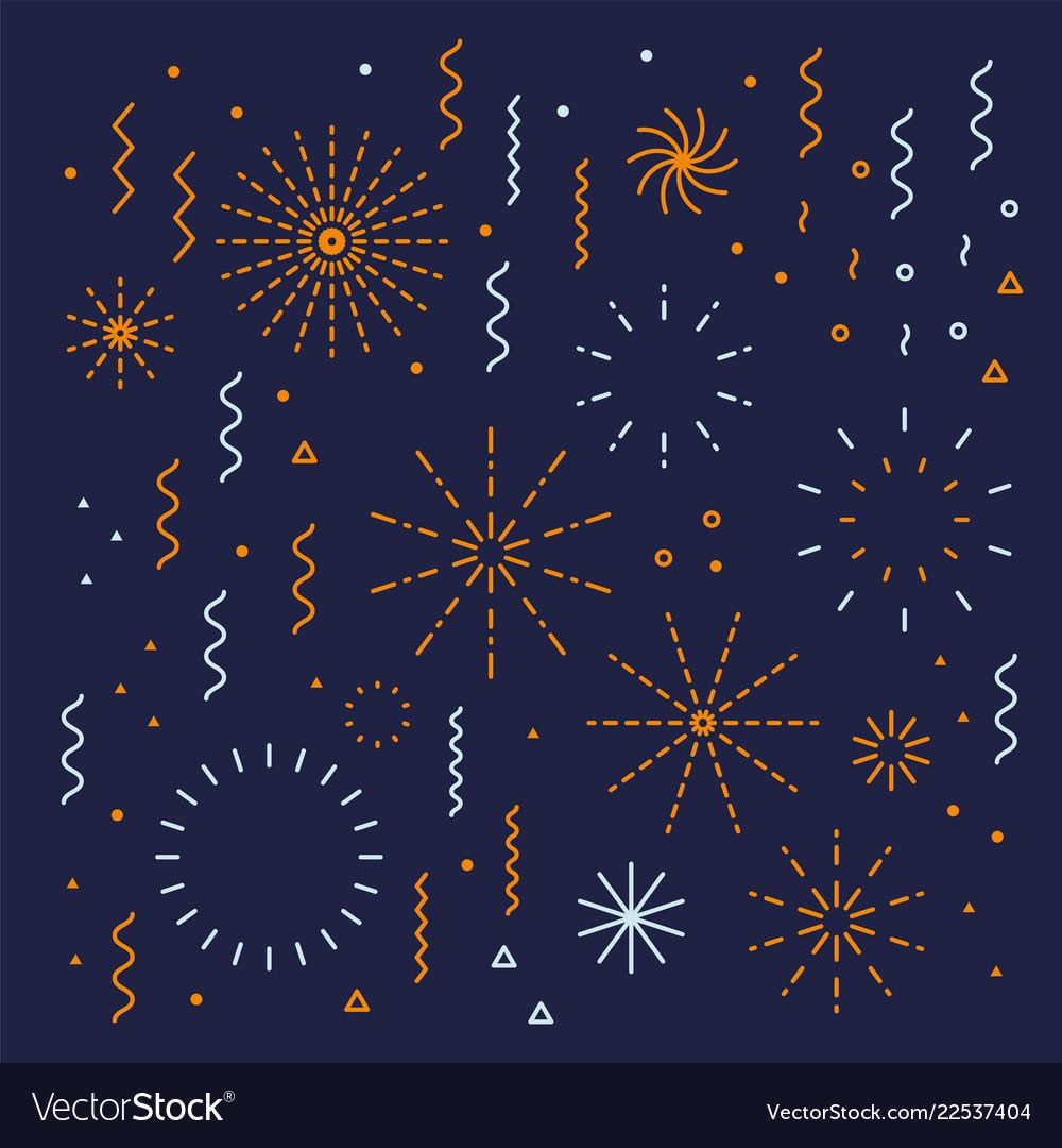 Fireworks lineal editable set with petard stars
