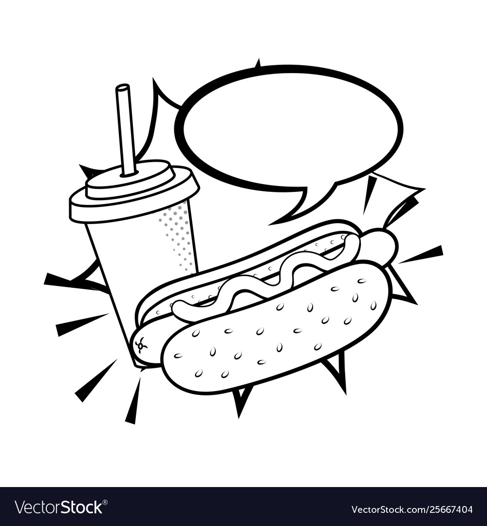 Hot Dog With Soda Black And White Royalty Free Vector Image