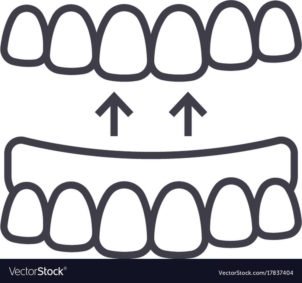 Implanted teeth line icon sign