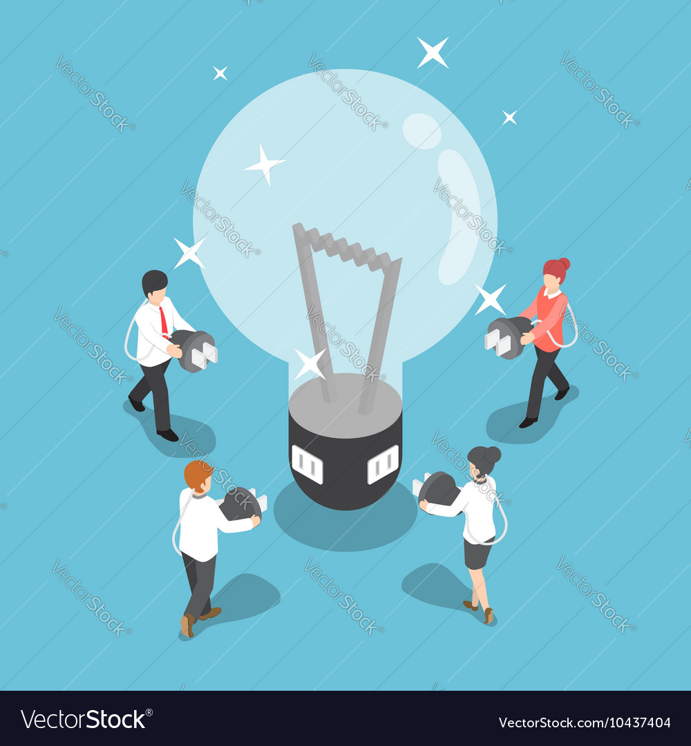 Isometric business people going to recharge idea