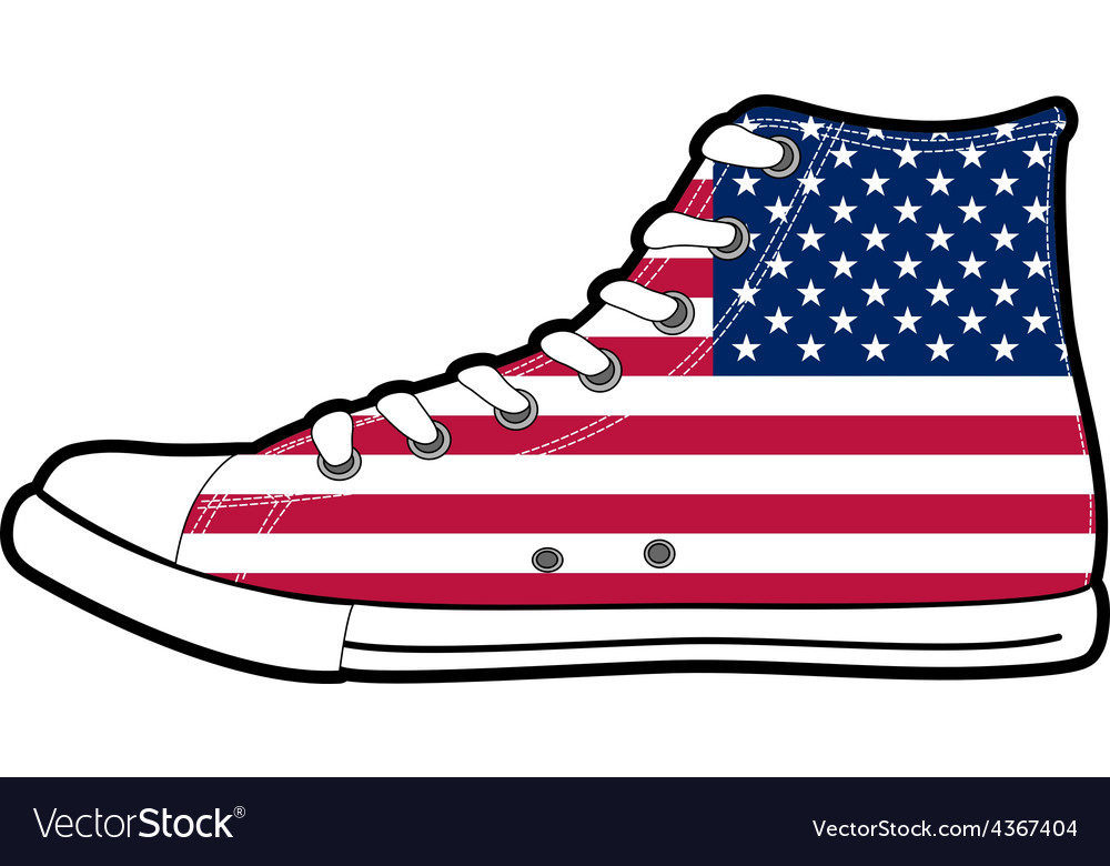 5372538bdec2a3 Modern sport shoes with USA flag Royalty Free Vector Image