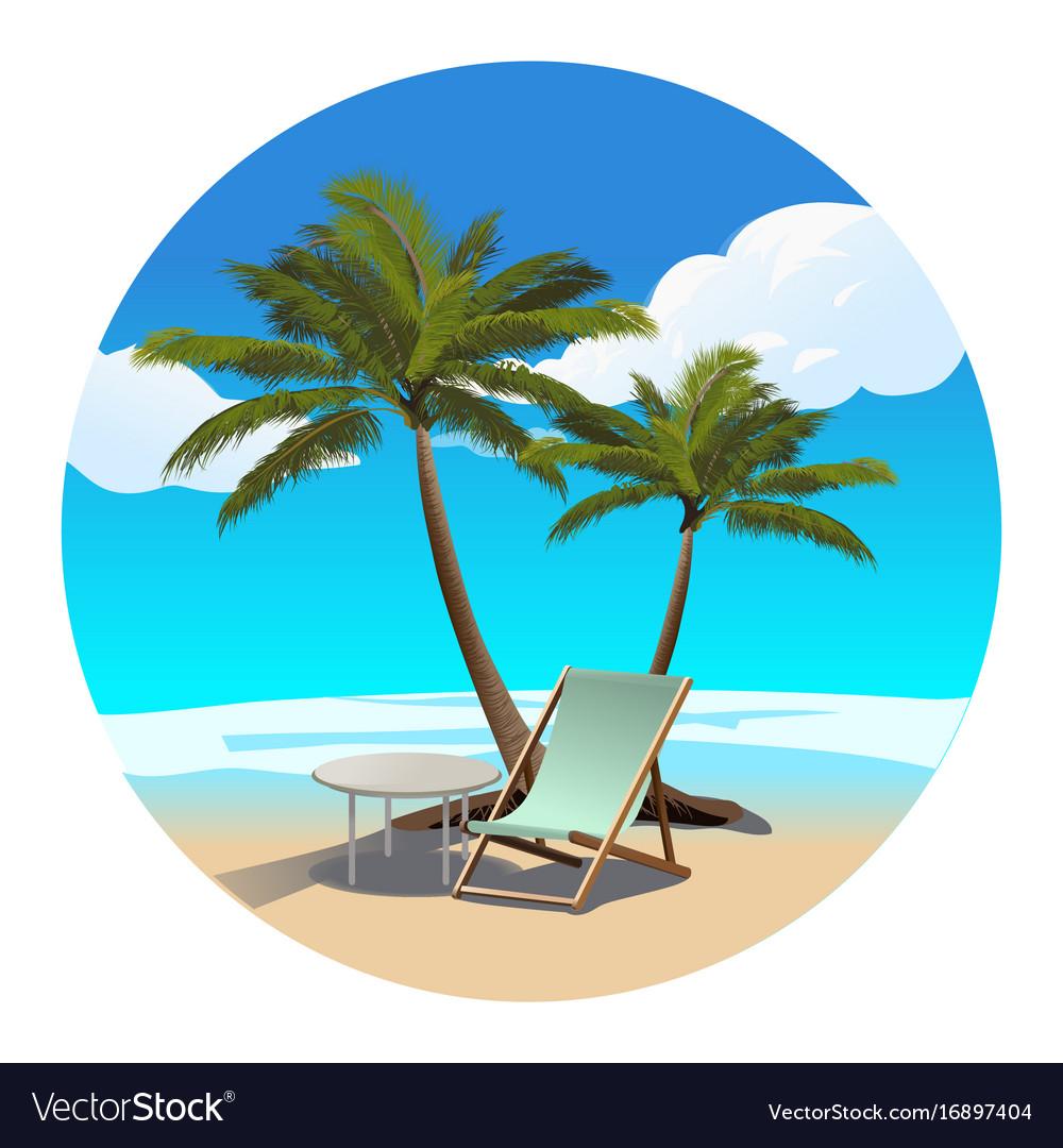 Palms beach and chaise longue