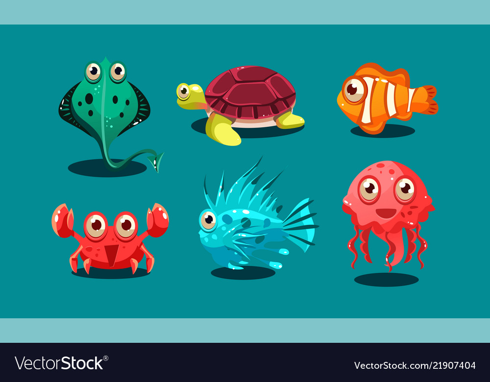 Sea creatures set cute funny animals and fishes