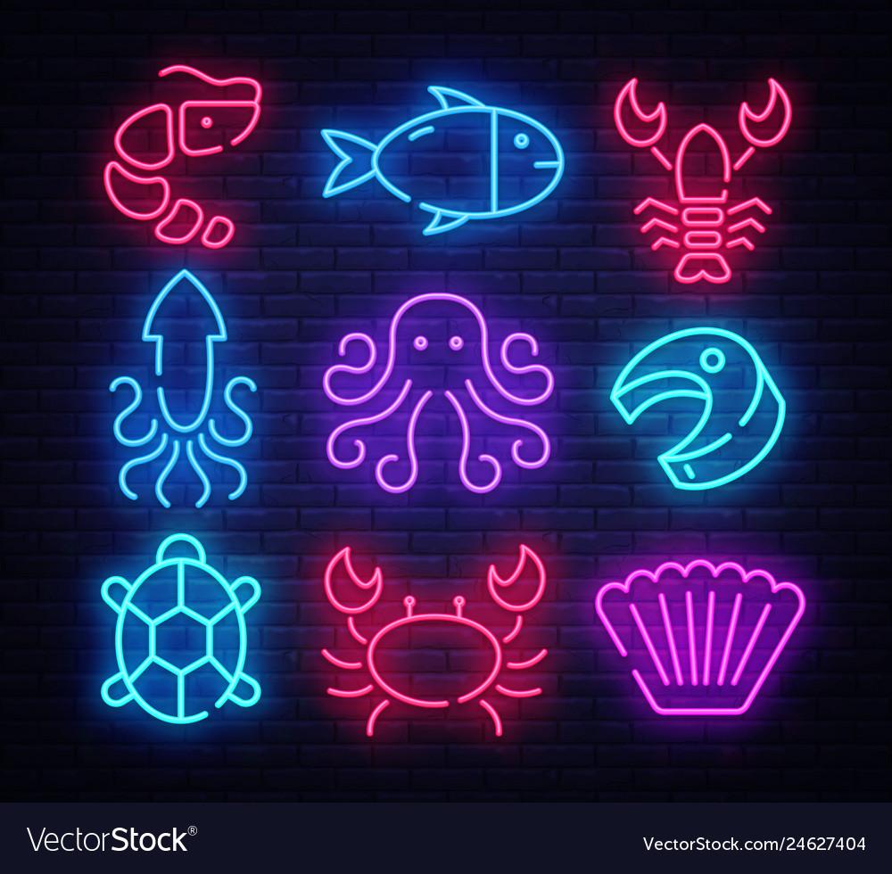 Seafood icon set neon design template design