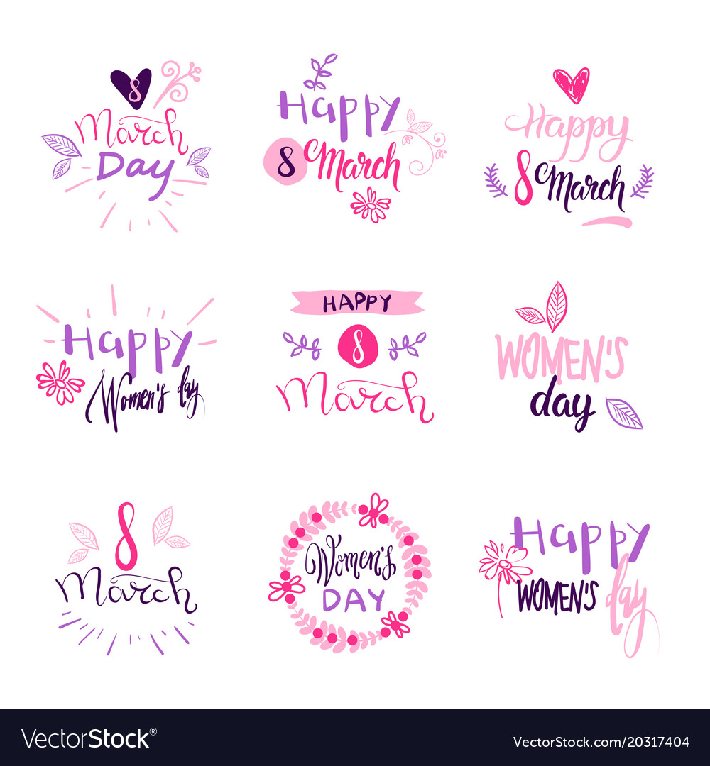 Set of 8 march holiday stickers on white