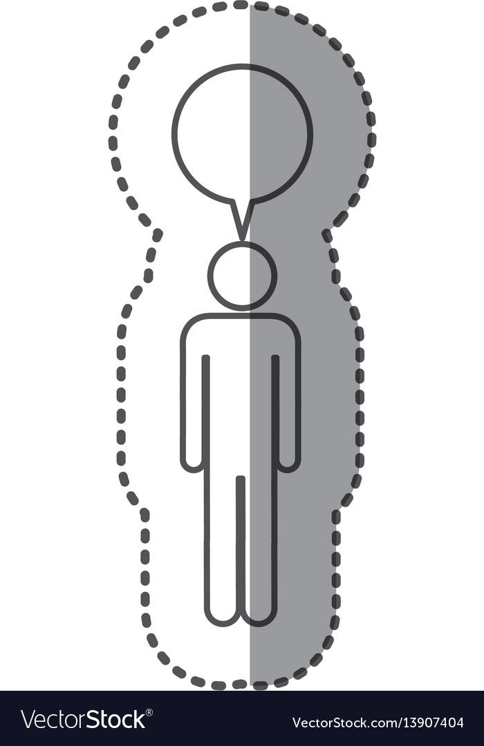 Sticker pictogram silhouette male with bubble