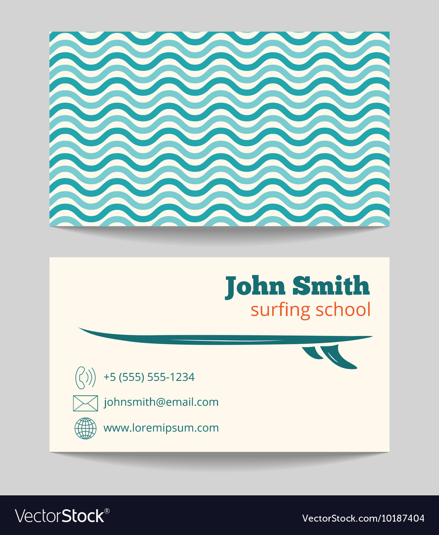 Surfing school business card template Royalty Free Vector